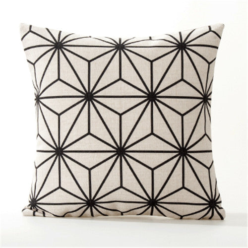 B&W GEOMETRIC DECORATIVE PILLOW COVER