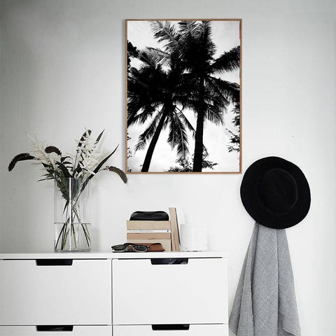 B&W TROPICAL TREE ART PRINT