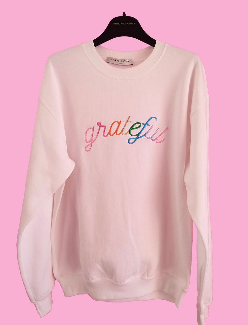 White Grateful Sweatshirt (PREORDER)