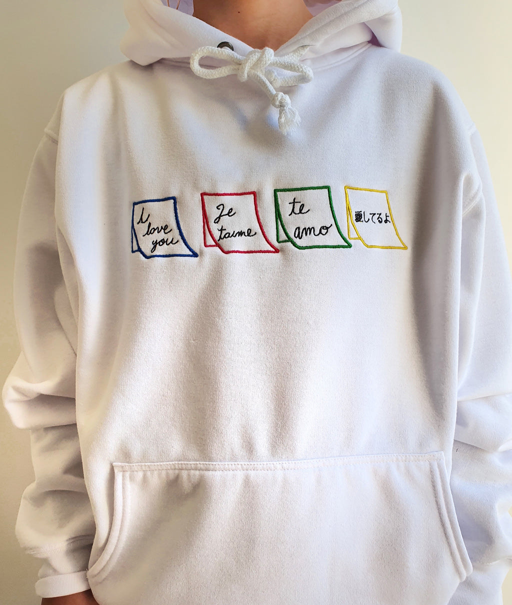Multi color Post-its white hoodie