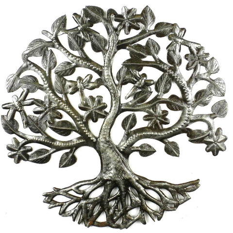 14 inch Tree of Life Dragonfly Metal Wall Art