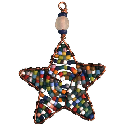 Beaded Star Ornament Rainbow