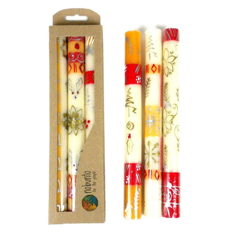 Tall Hand Painted Candles - Three in Box - Kimeta Design