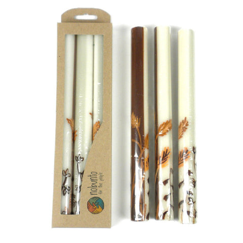Tall Hand Painted Candles - Three in Box - Kiwanja Design