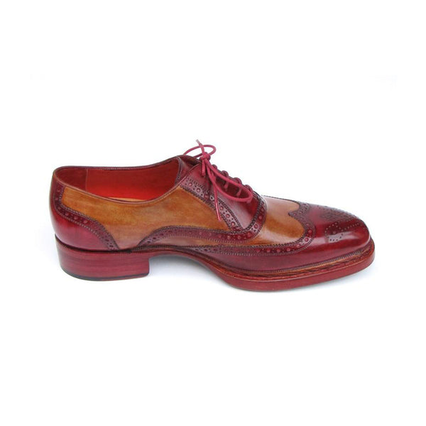 Men's Triple Leather Sole Wingtip Brogues Bordeaux & Camel