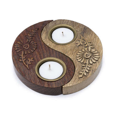Yin Yang Wood Tea Light Candle Holder