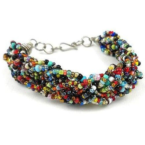 Multicolor Six Strand Braid Beaded Bracelet Handmade and Fair Trade