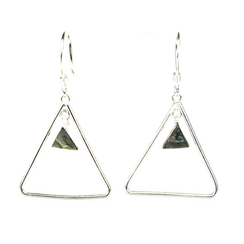 Silver Triangle Abalone Earrings
