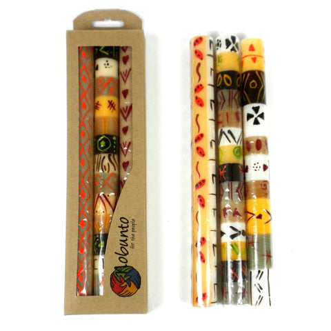 Tall Hand Painted Candles - Three in Box - Akono Design