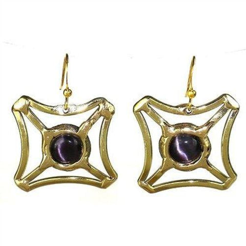 Purple Tiger Eye Square Earrings Handmade and Fair Trade