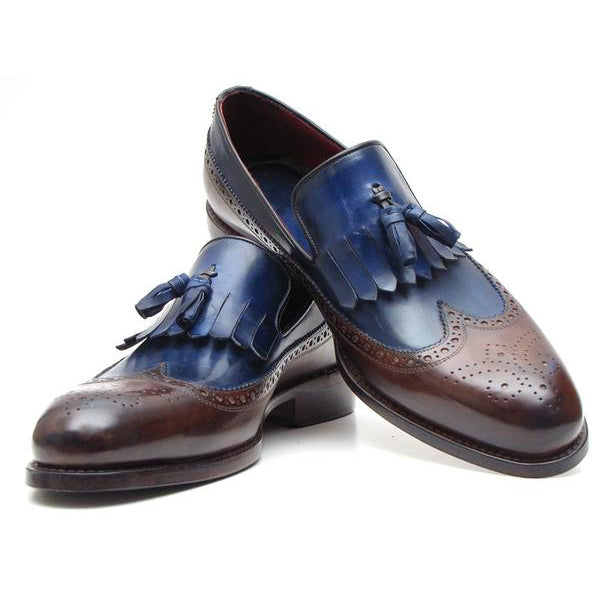 Paul Parkman Kiltie Tassel Loafer Dark Brown & Navy (ID#KT44BN)