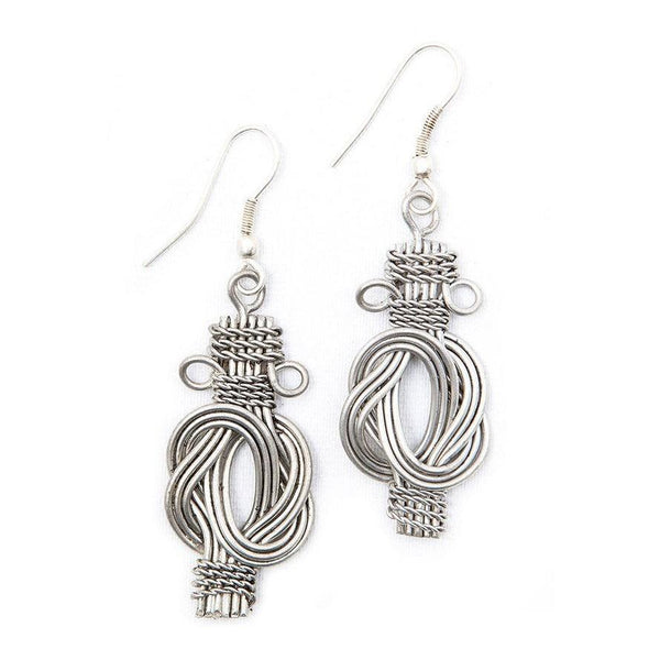 Buddha Knot Earrings - Silvertone