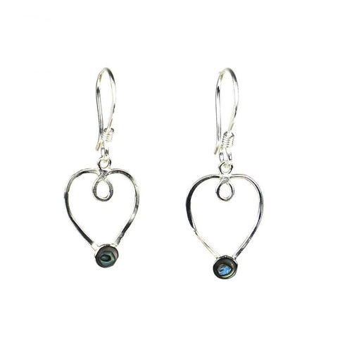 Silver Heart Earrings with Abalone Accent