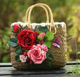 Happy Easter - Handmade Straw Women Bags Luxury Flowers Handmade Woven Beach Bag
