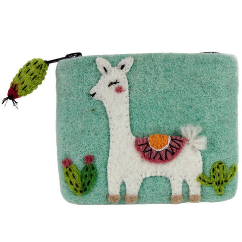Felt Happy Llama Coin Purse