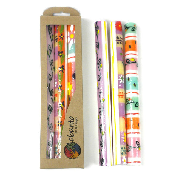 Tall Hand Painted Candles - Three in Box - Imbali Design