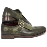 Men's Wingtip Monkstrap Brogues Green  Leather Upper With Double Leather Sole