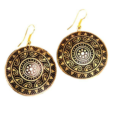 Sun Medallion Earrings - Golden