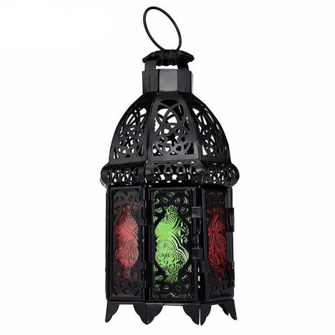 Moroccan Style Matte Cast Iron Handmade Octagonal Candle Lantern Multicolor Textured Glass,Living Room,Balcony,Garden Decoration