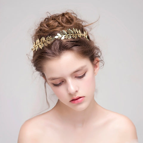Jonnafe Gold Silver Leaf Tiara Bridal Headband Handmade Vintage Wedding Hair Accessories Women Headwear Jewelry