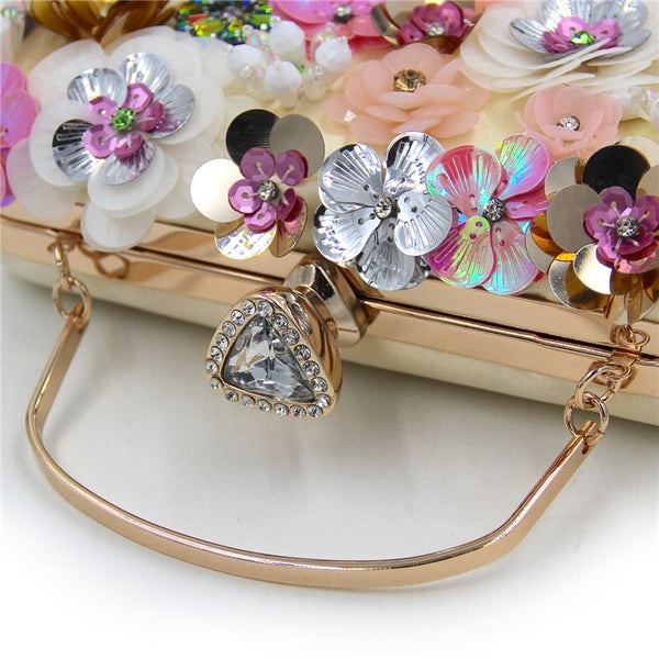 Luxy Moon Handmade Evening Clutch Embroidery Women Evening Bags Crystal Purses Female Flower Party Clutches Chain Handbag ZD674