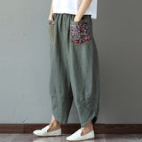 Handmade Women Casual Loose Splice Wide Leg Pants Vintage Elastic Waist Pockets Loose Trousers Folk Style