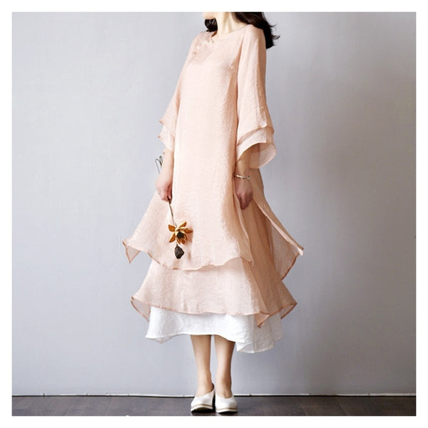 Summer Elegant Retro Dress O Neck Oblique Button Two Piece Ruffled Hem Cotton Linen Dress