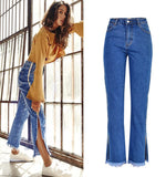 Side Split Stripe Vintage Blue Jeans with Zipper High Waist Denim Street-wear Sizes from S-3XL
