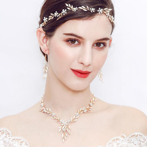 Gold Leaf Handmade Necklace Earrings Set Pearls Bridal Jewelry Sets Wedding Prom Accessories