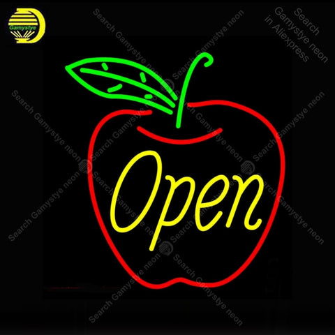Open in Apple Neon Sign Glass Tube Handmade neon light Sign Decorate Fruit Store room Iconic Neon Light Lamp Advertise Bright