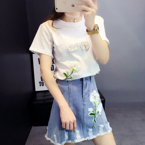 Two piece set summer Handmade Sequined Letter T shirt + A-shaped flowers worn denim skirt  two piece outfits