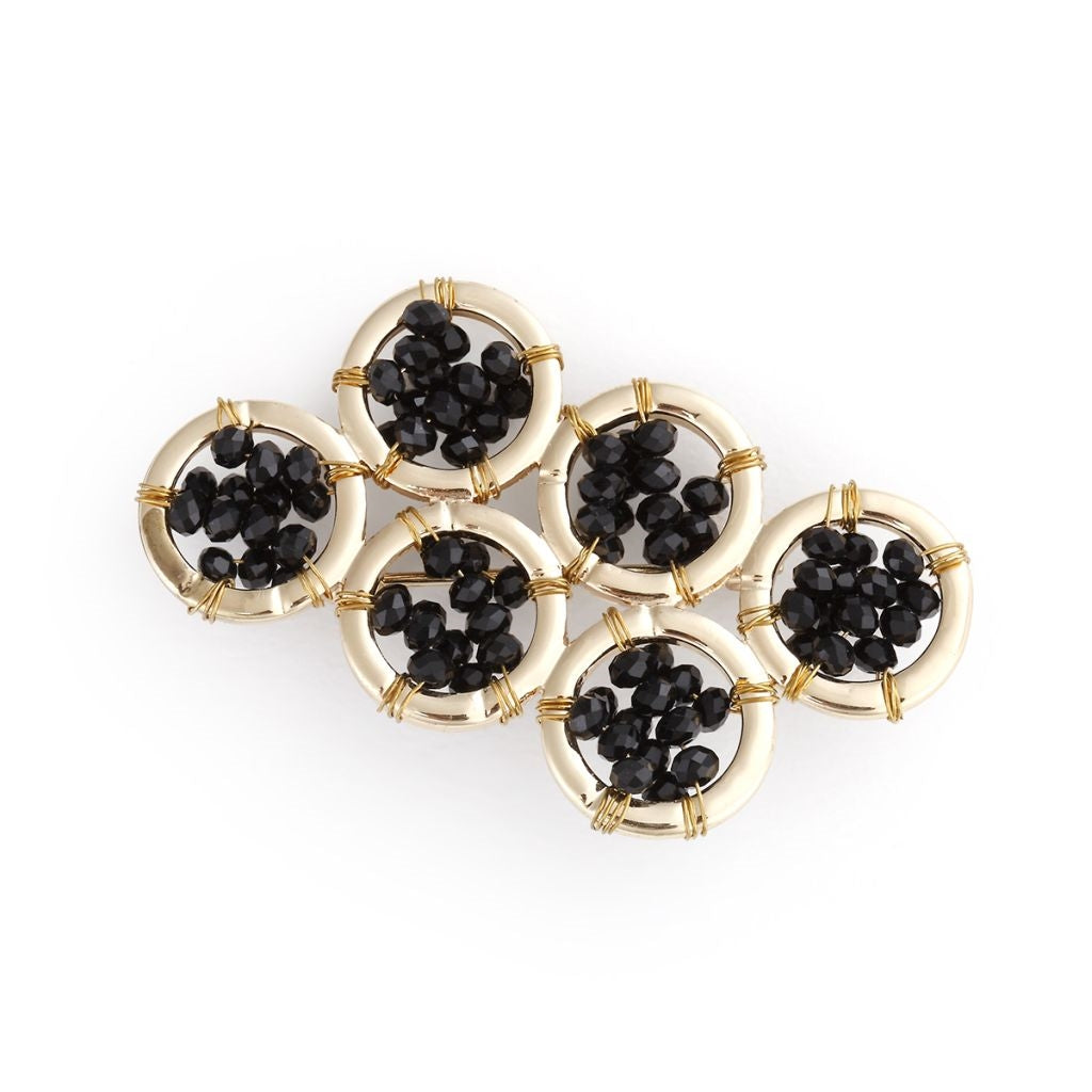 City Wrap Black & Gold Cluster Pin