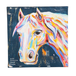 """All trails lead home"" Horse Canvas"