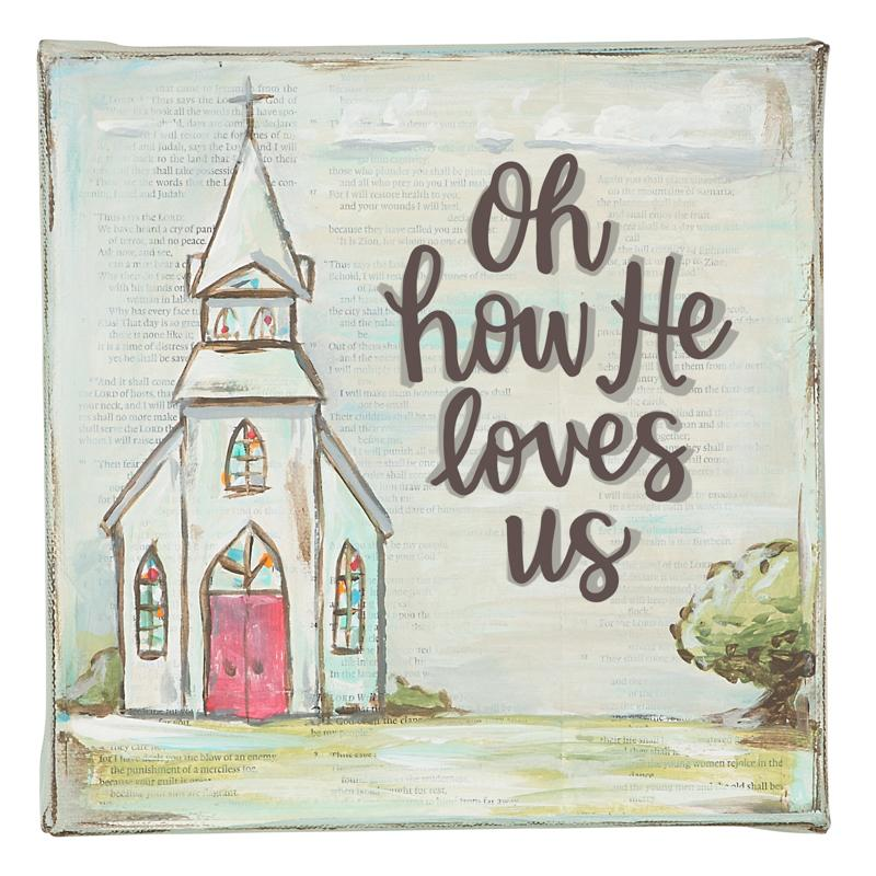 Oh How He Loves Us Canvas - Grace & Grits
