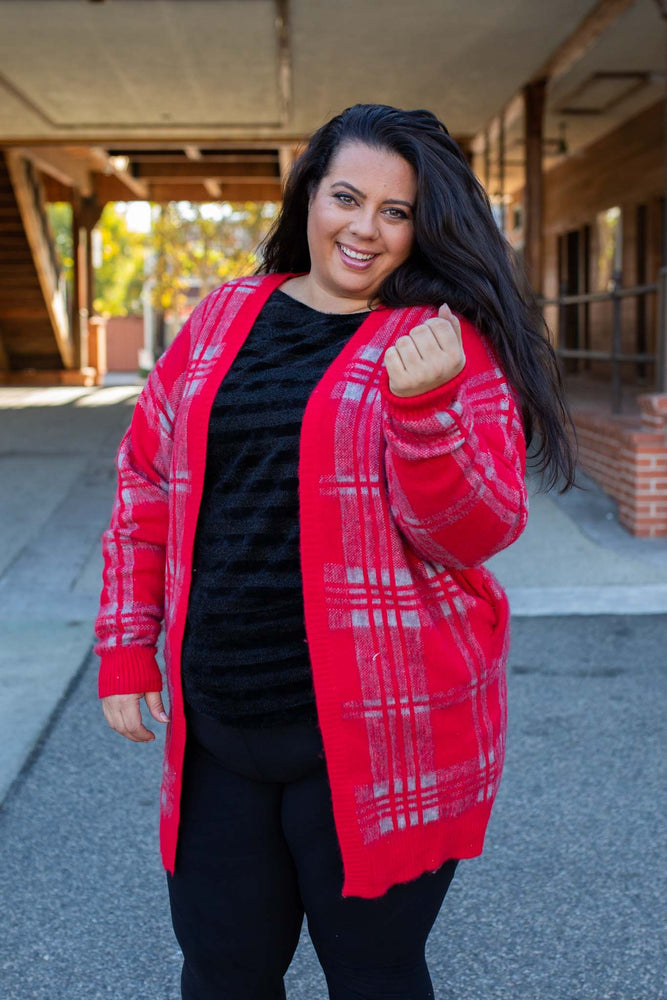 Mad About Plaid Sweater Cardigan