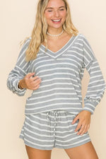 Hazy Stripes Long Sleeve Top