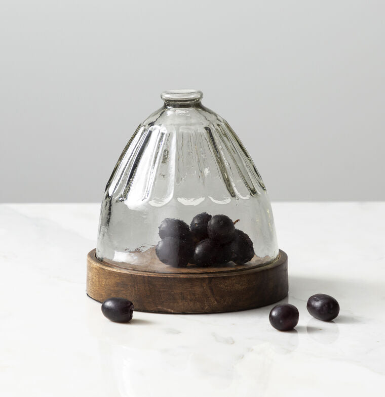 Faceted Cloche With Natural Base - Grace & Grits