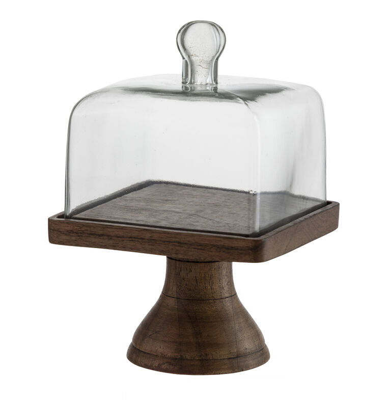 Square Cloche with Natural Pedestal - Grace & Grits