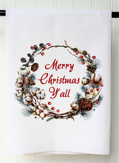 """Merry Christmas Ya'll"" Cotton Wreath Tea Towel"