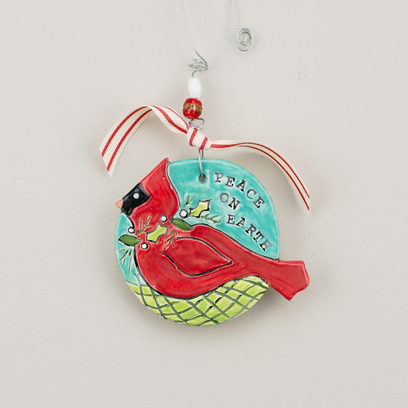 """Peace on Earth"" Cardinal Ornament - Grace & Grits"