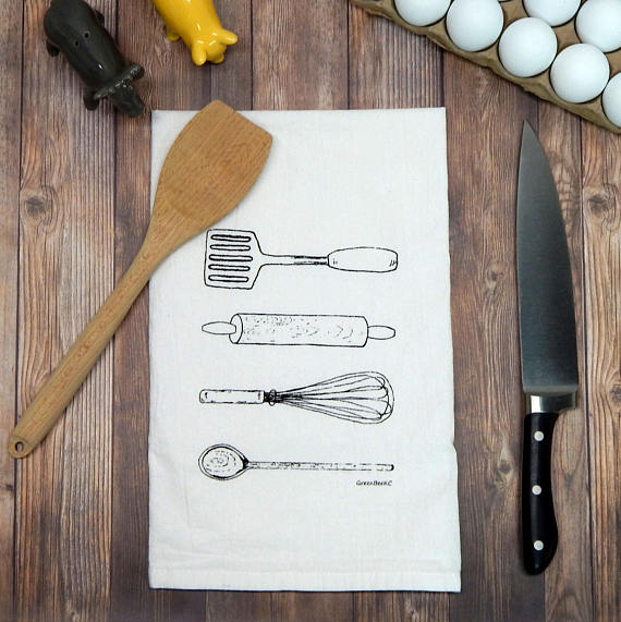 Kitchen Utensils Flour Sack Tea Towel - Grace & Grits