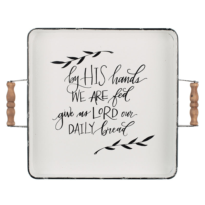 """Let Us Thank Him for our Food"" Square Platter"