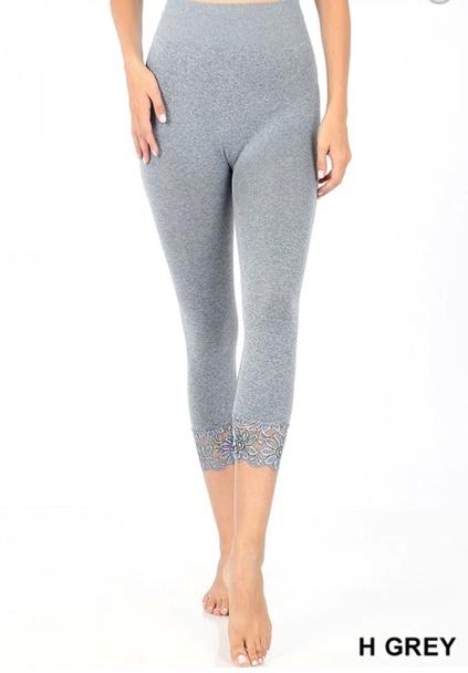 Lace Trim Seamless Leggings in Light Grey