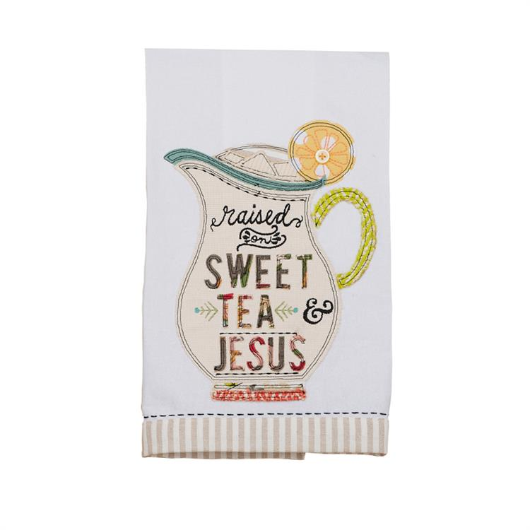 """Raised on Sweet Tea and Jesus"" Tea Towel - Grace & Grits"