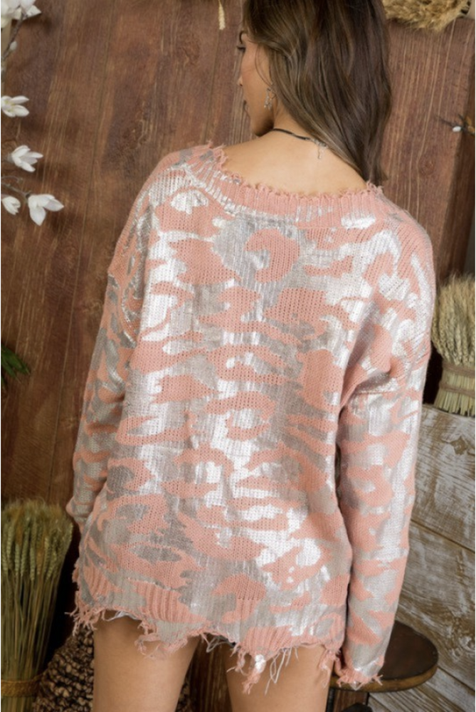 And We're Off Metallic Frayed Sweater