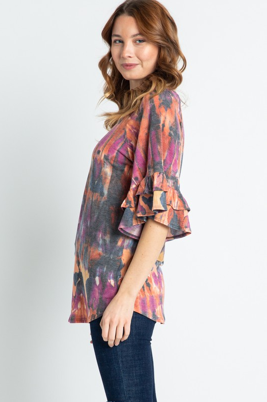 Light My Fire Ruffle Sleeve Top