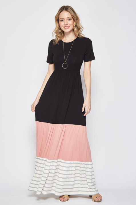 Striped Color Block Maxi Dress