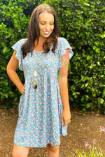 Denim Floral Tee Shirt Dress