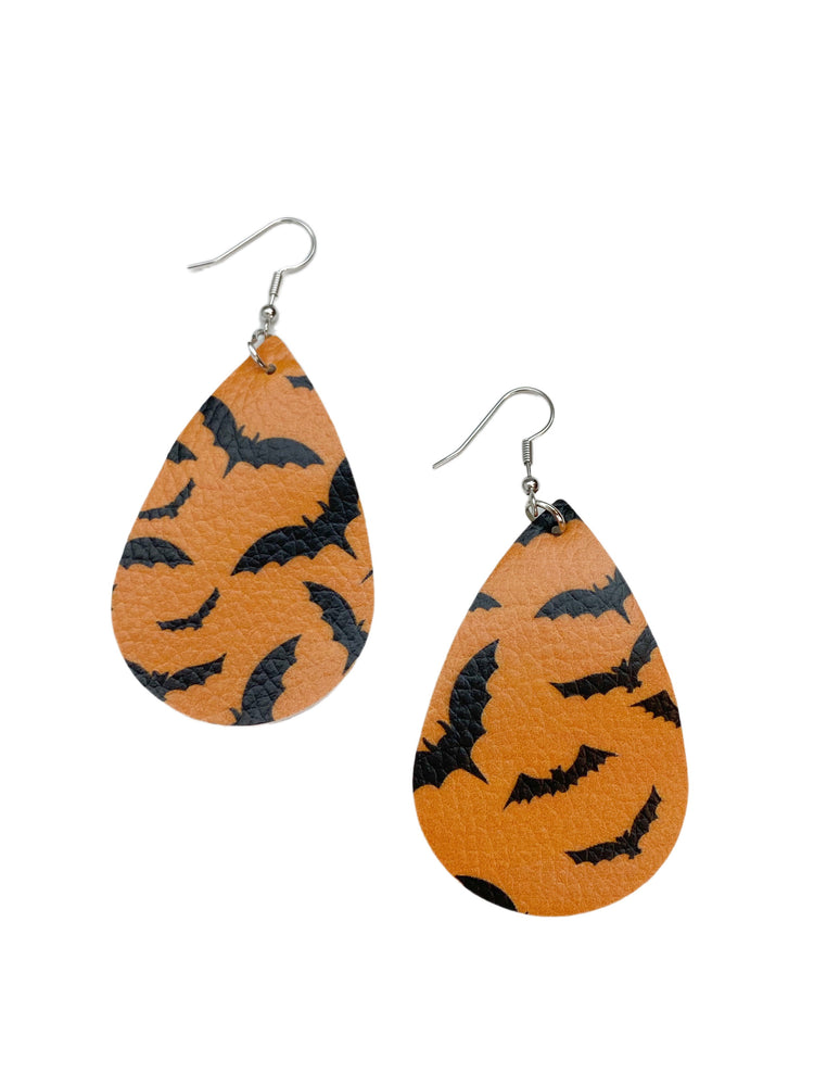 Going Batty Leather Teardrop Earrings