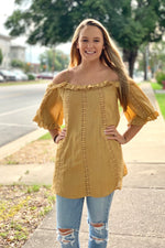 {Isabella} Off-the-Shoulder Mustard Blouse - Grace & Grits